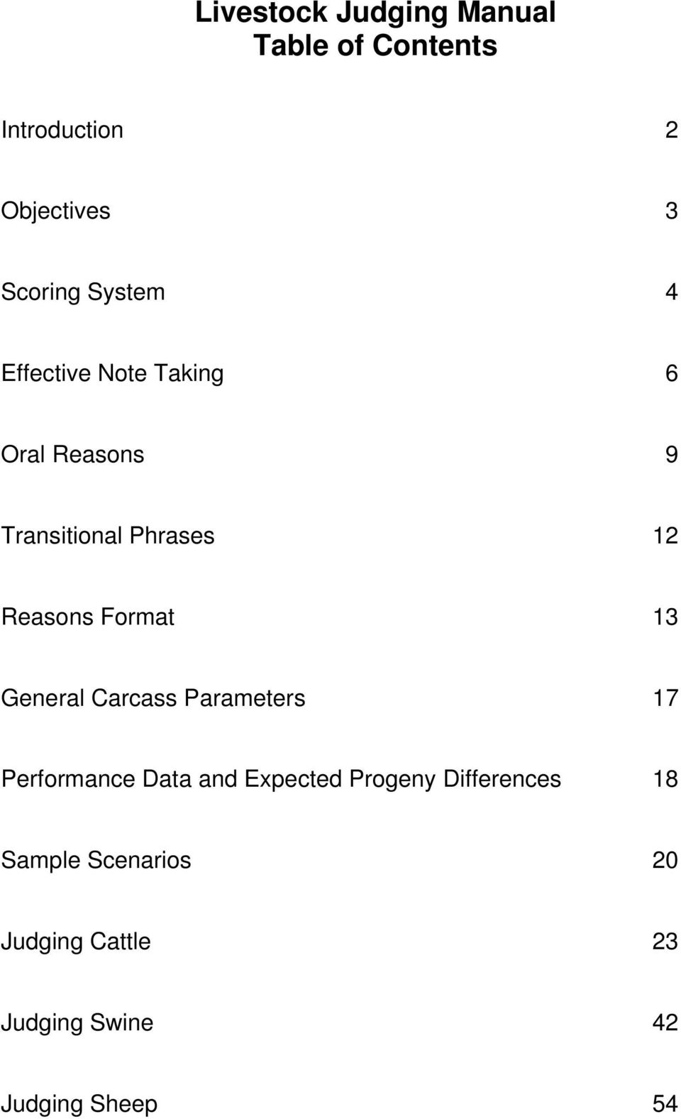Format 13 General Carcass Parameters 17 Performance Data and Expected Progeny