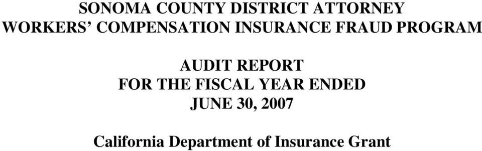 AUDIT REPORT FOR THE