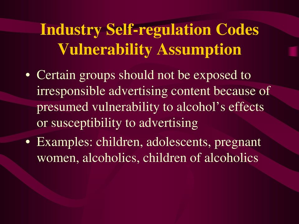presumed vulnerability to alcohol s effects or susceptibility to