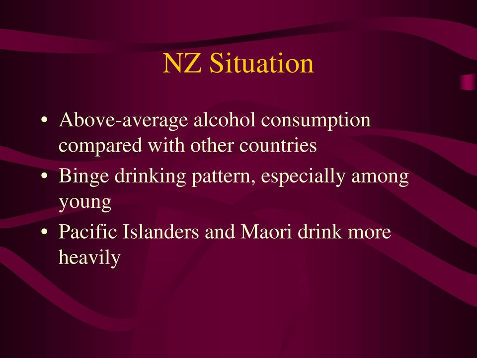 Binge drinking pattern, especially among