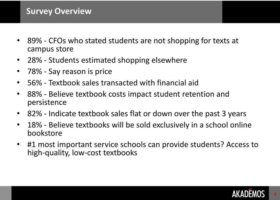 retention and persistence 82% - Indicate textbook sales flat or down over the past 3 years 18% - Believe textbooks will be sold