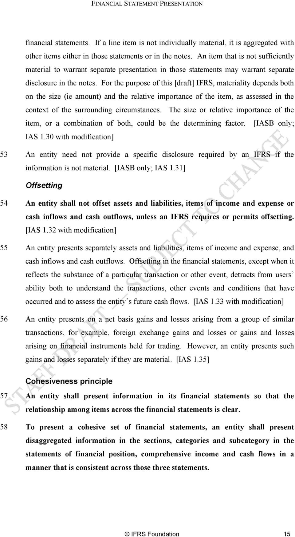 For the purpose of this [draft] IFRS, materiality depends both on the size (ie amount) and the relative importance of the item, as assessed in the context of the surrounding circumstances.