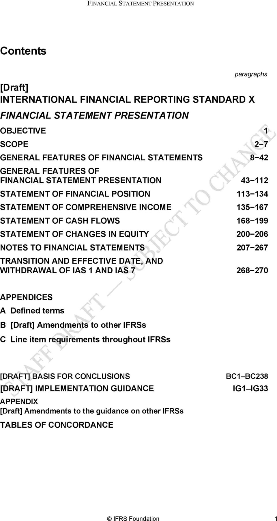 NOTES TO FINANCIAL STATEMENTS TRANSITION AND EFFECTIVE DATE, AND WITHDRAWAL OF IAS 1 AND IAS 7 113 134 135 167 168 199 200 206 207 267 268 270 APPENDICES A Defined terms B [Draft] Amendments to other