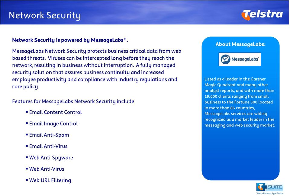 A fully managed security solution that assures business continuity and increased employee productivity and compliance with industry regulations and core policy Features for MessageLabs Network