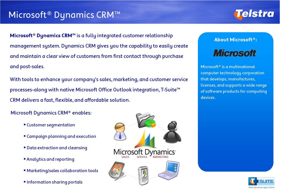 With tools to enhance your company's sales, marketing, and customer service processes-along with native Microsoft Office Outlook integration, T-Suite CRM delivers a fast, flexible, and affordable