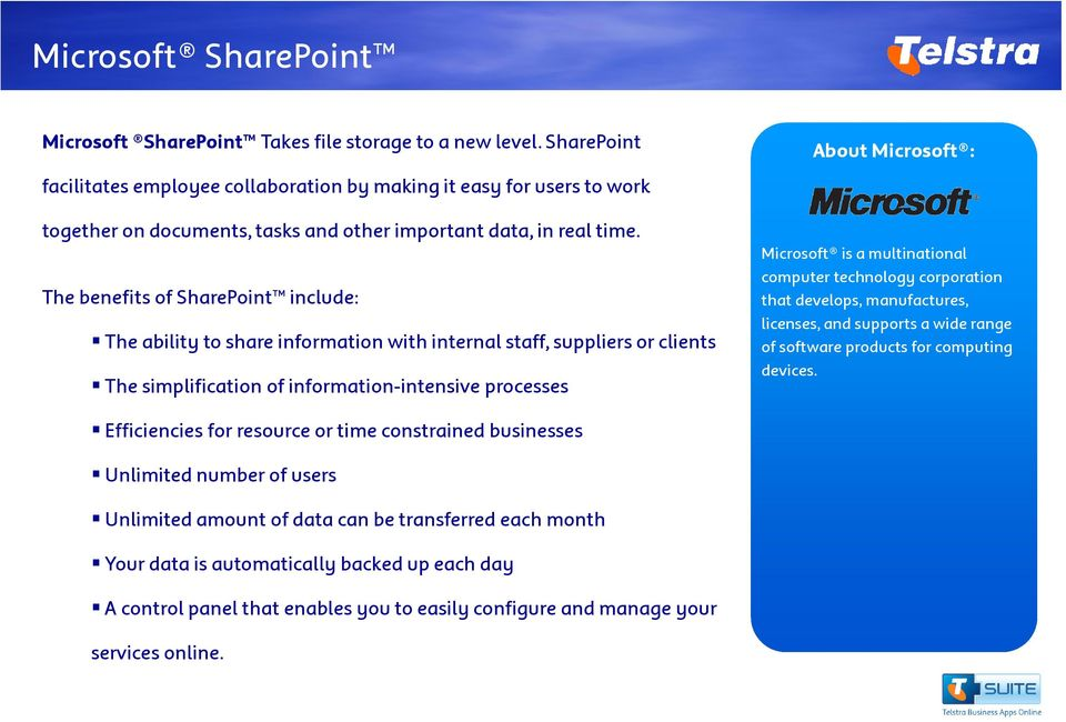The benefits of SharePoint include: The ability to share information with internal staff, suppliers or clients The simplification of information-intensive processes About Microsoft : Microsoft is a