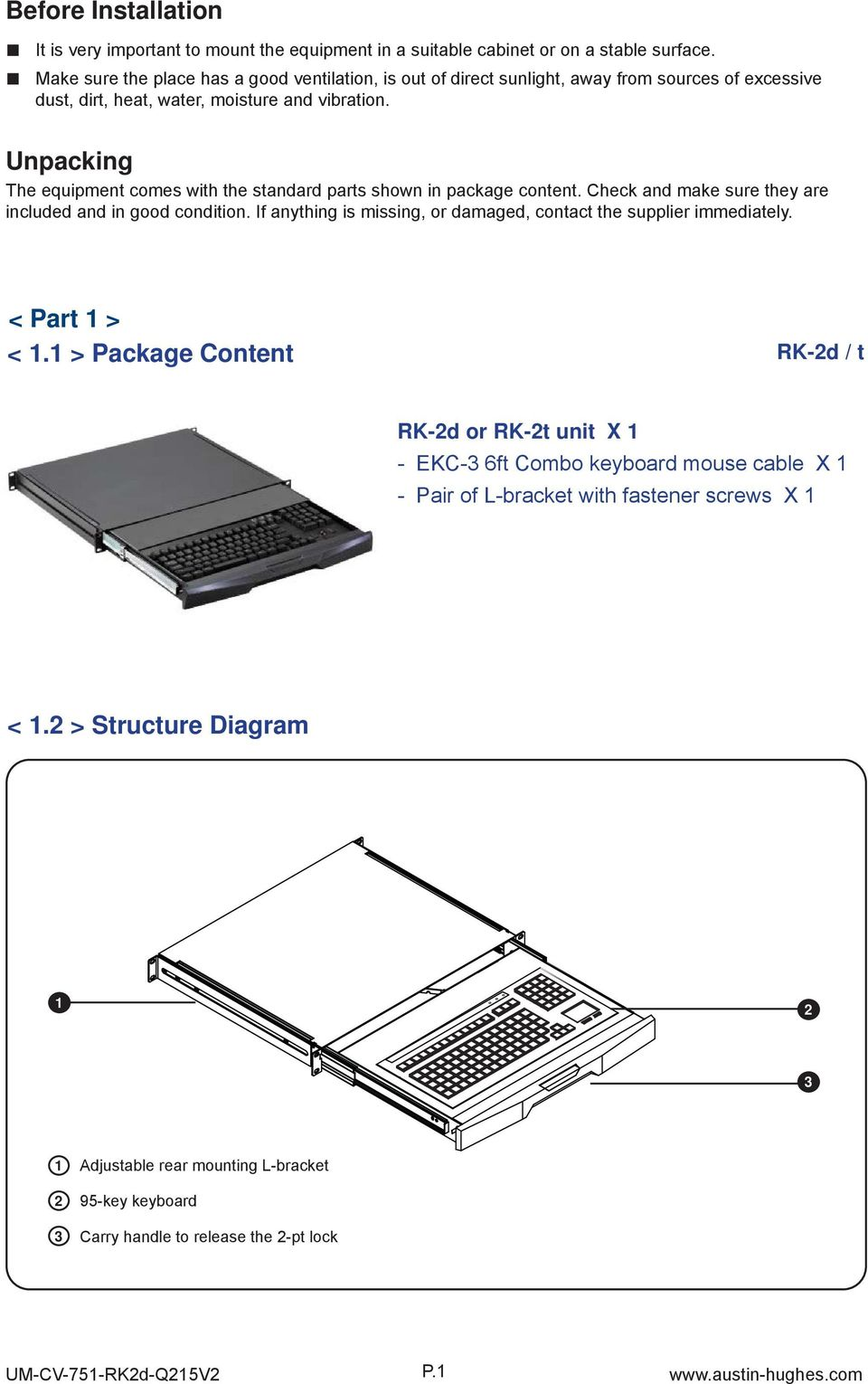 Unpacking The equipment comes with the standard parts shown in package content. Check and make sure they are included and in good condition.
