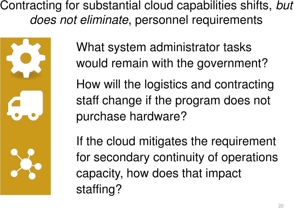 How will the logistics and contracting staff change if the program does not purchase hardware?
