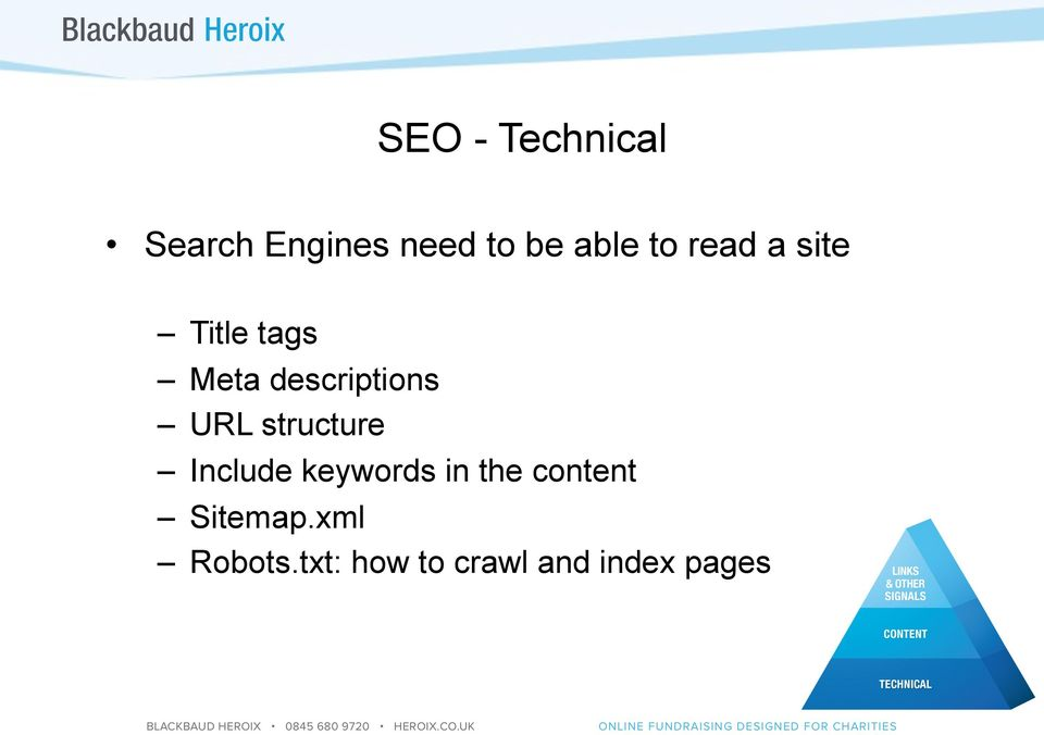 structure Include keywords in the content
