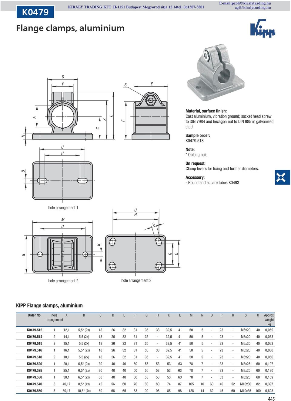 ccessory: hole arrangement 1 U H R O hole arrangement 2 hole arrangement 3 KIPP Flange clamps, aluminium Order No. hole E F G H K M N O P R U pprox. arrangement K0479.