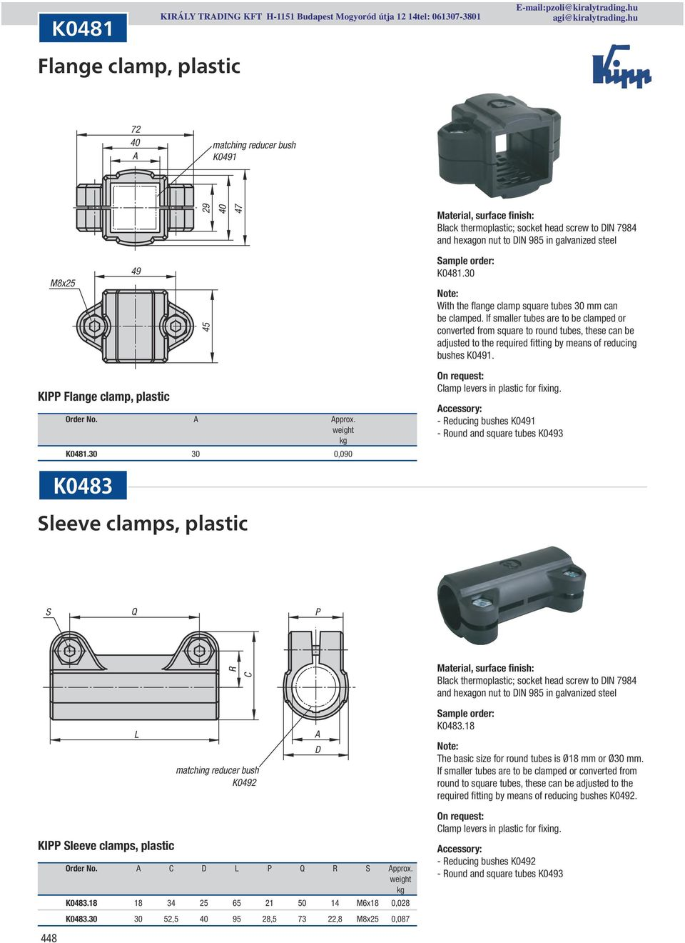 If smaller tubes are to be clamped or converted from square to round tubes, these can be adjusted to the required fitting by means of reducing bushes K0491. KIPP Flange clamp, plastic Order No. pprox.