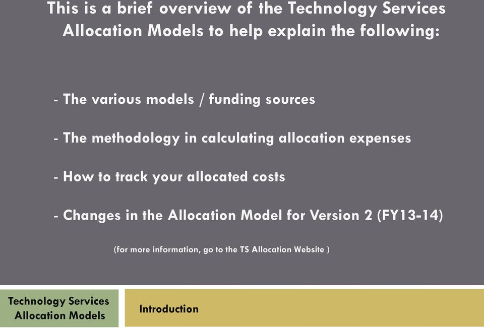 How to track your allocated costs - Changes in the Allocation Model for Version