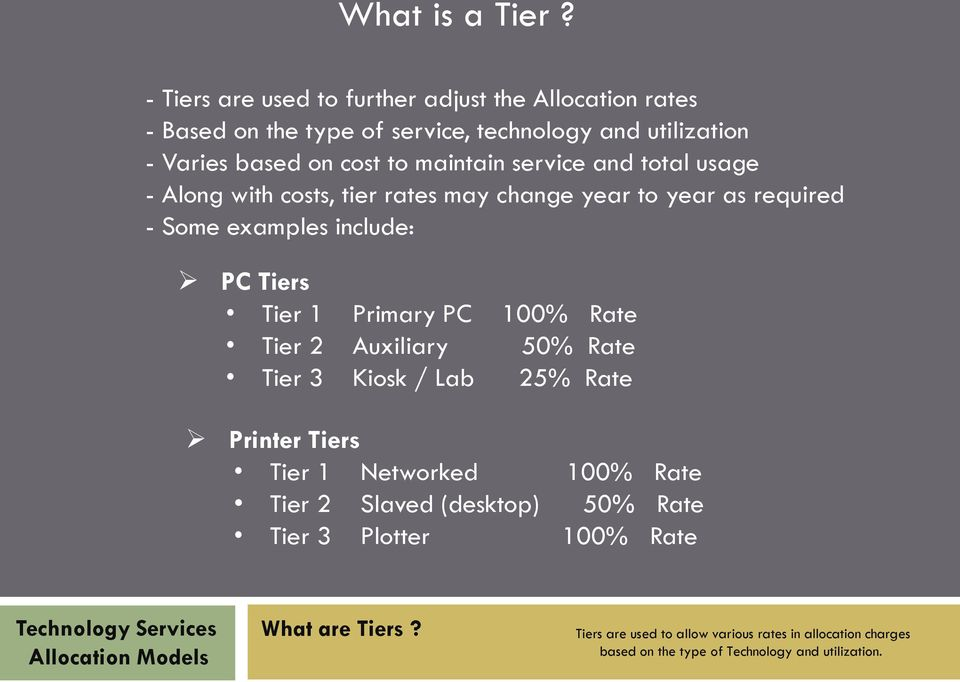 maintain service and total usage - Along with costs, tier rates may change year to year as required - Some examples include: PC Tiers Tier 1 Primary