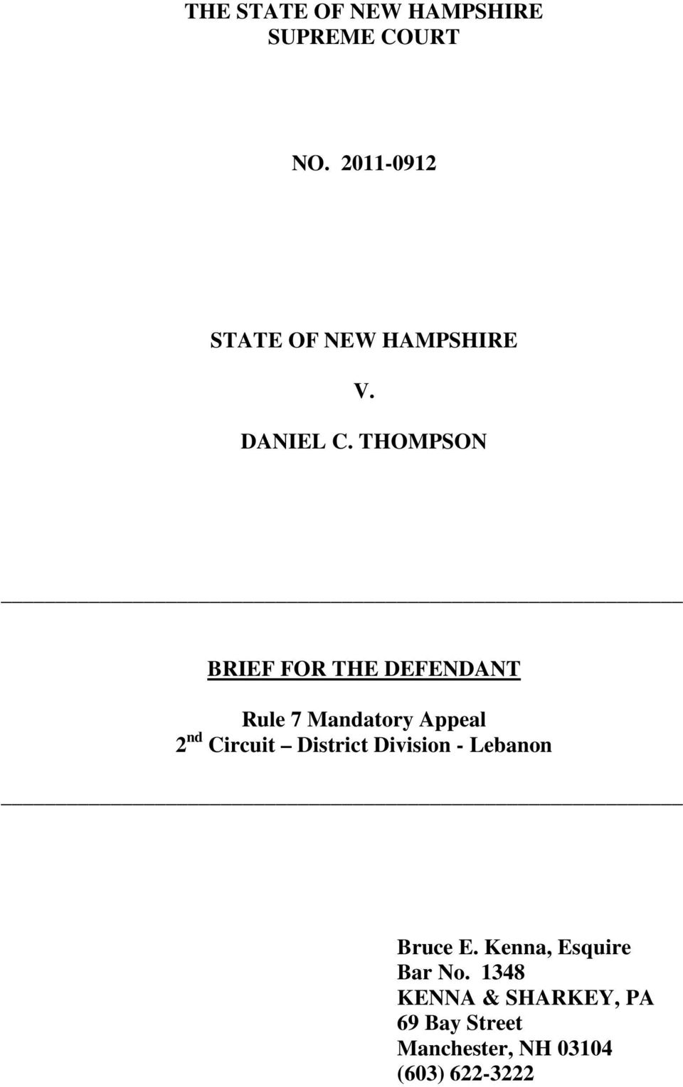 THOMPSON BRIEF FOR THE DEFENDANT Rule 7 Mandatory Appeal 2 nd Circuit