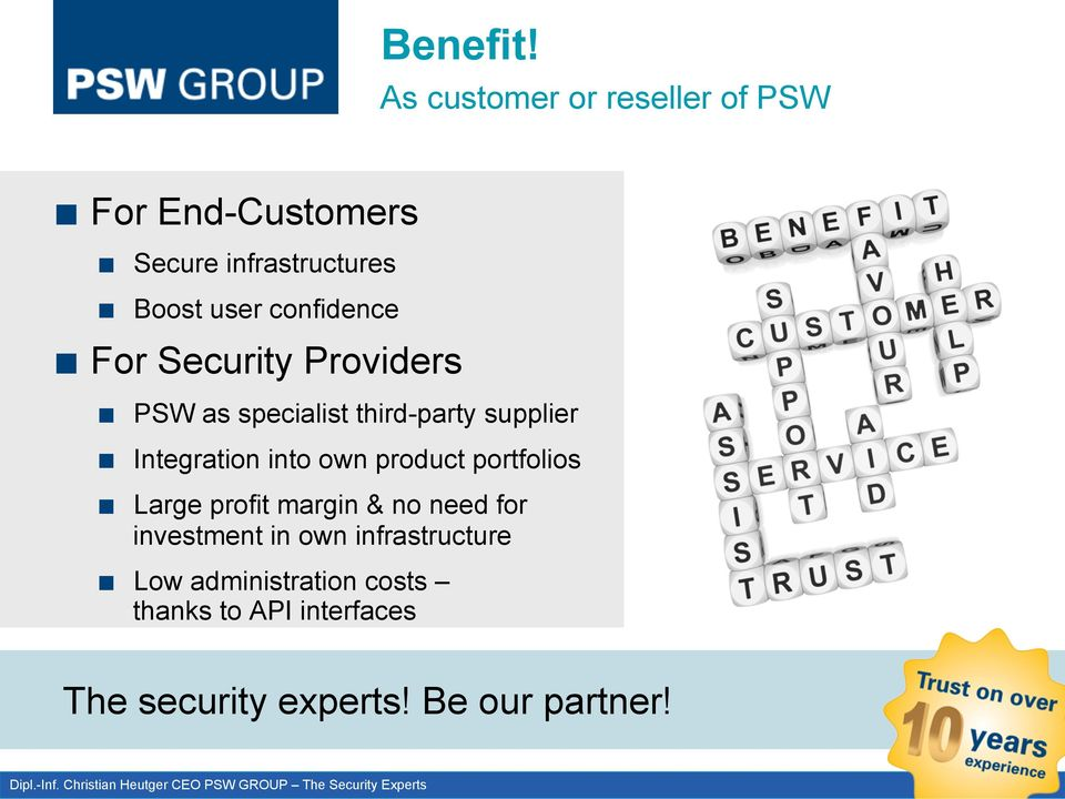 PSW as specialist third-party supplier! Integration into own product portfolios!