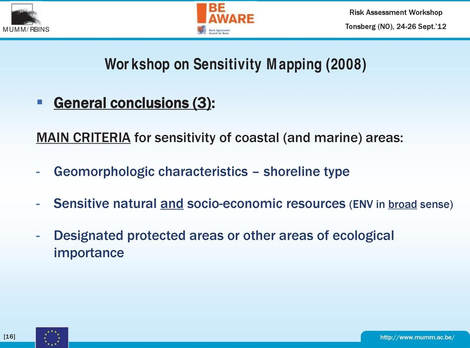 characteristics shoreline type - Sensitive natural and socio-economic resources (ENV