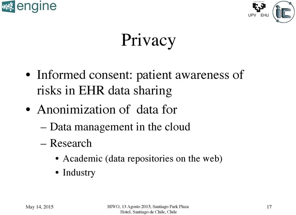 EHR data sharing! Anonimization of data for!
