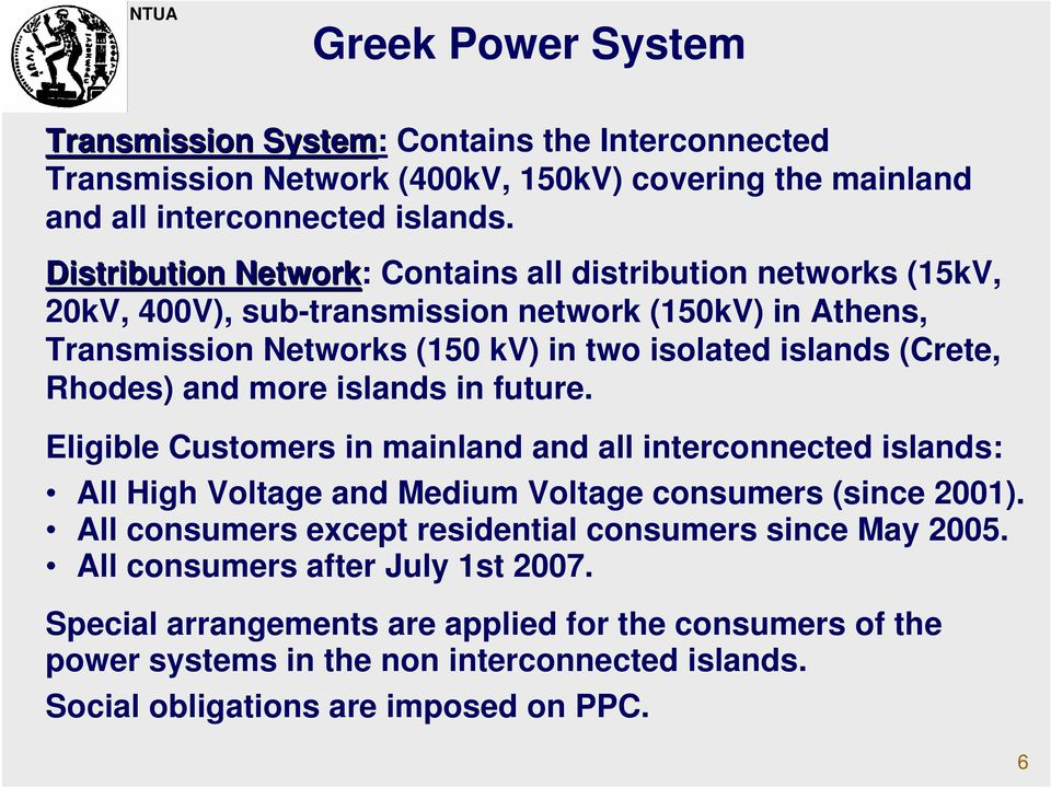 Rhodes) and more islands in future. Eligible Customers in mainland and all interconnected islands: All High Voltage and Medium Voltage consumers (since 2001).