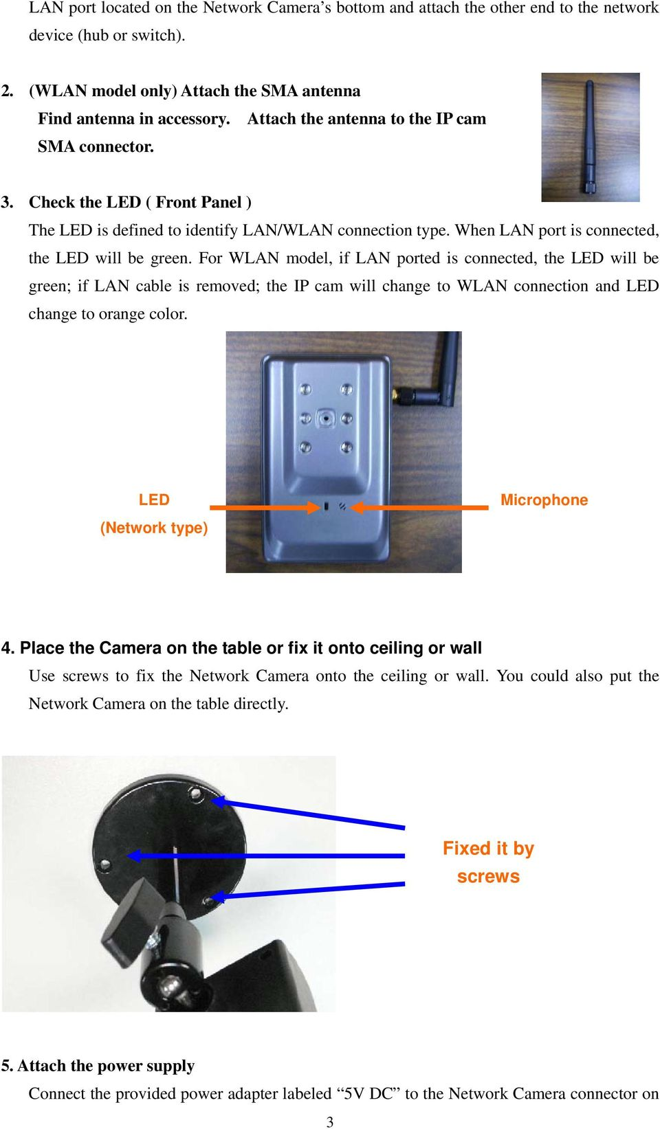 For WLAN model, if LAN ported is connected, the LED will be green; if LAN cable is removed; the IP cam will change to WLAN connection and LED change to orange color. LED (Network type) Microphone 4.