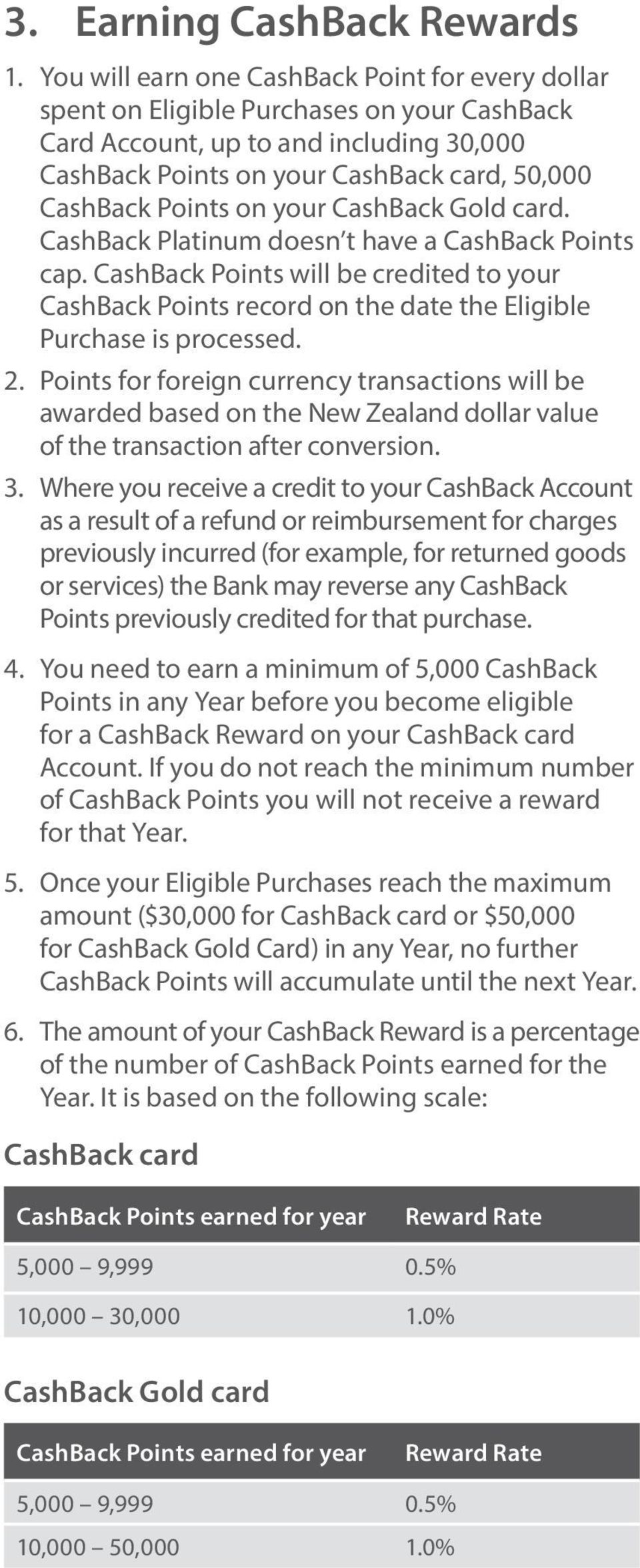 on your CashBack Gold card. CashBack Platinum doesn t have a CashBack Points cap. CashBack Points will be credited to your CashBack Points record on the date the Eligible Purchase is processed. 2.