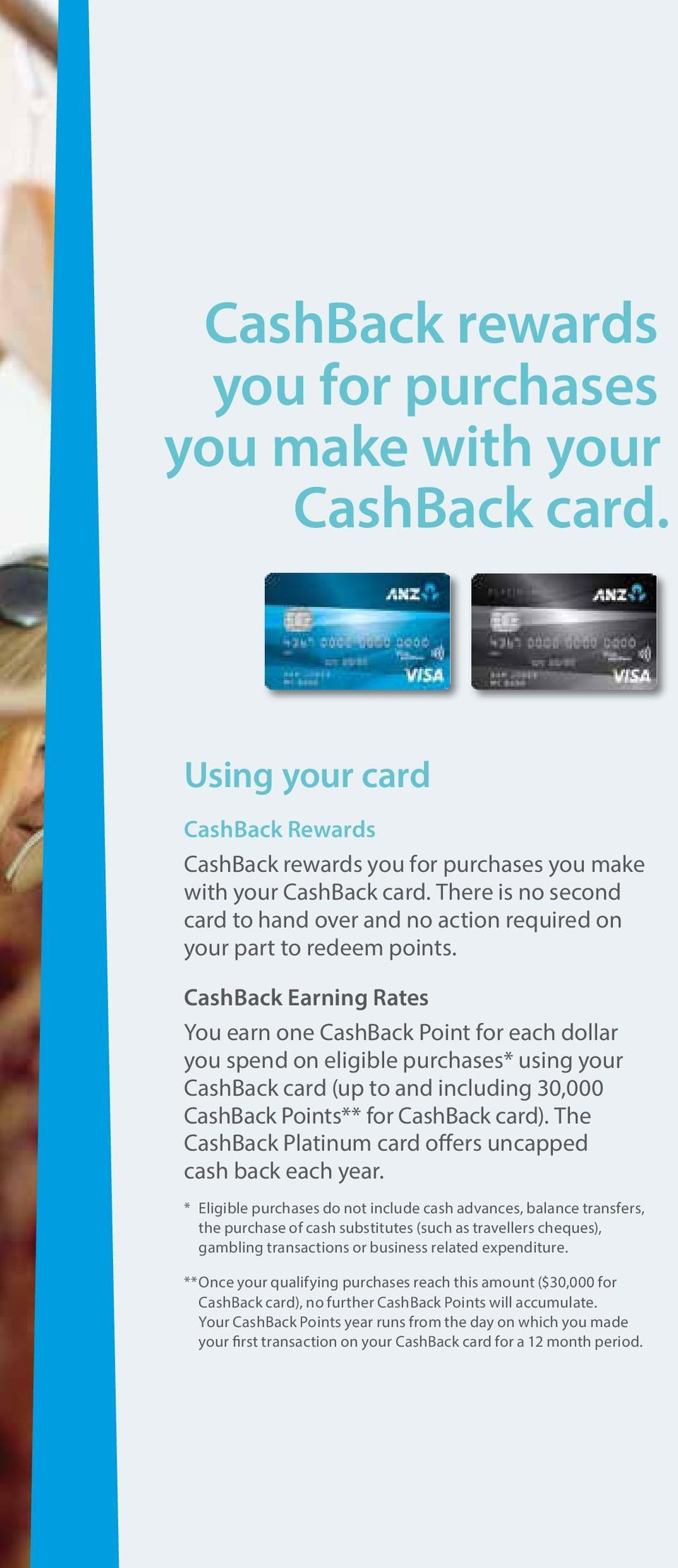CashBack Earning Rates You earn one CashBack Point for each dollar you spend on eligible purchases* using your CashBack card (up to and including 30,000 CashBack Points** for CashBack card).
