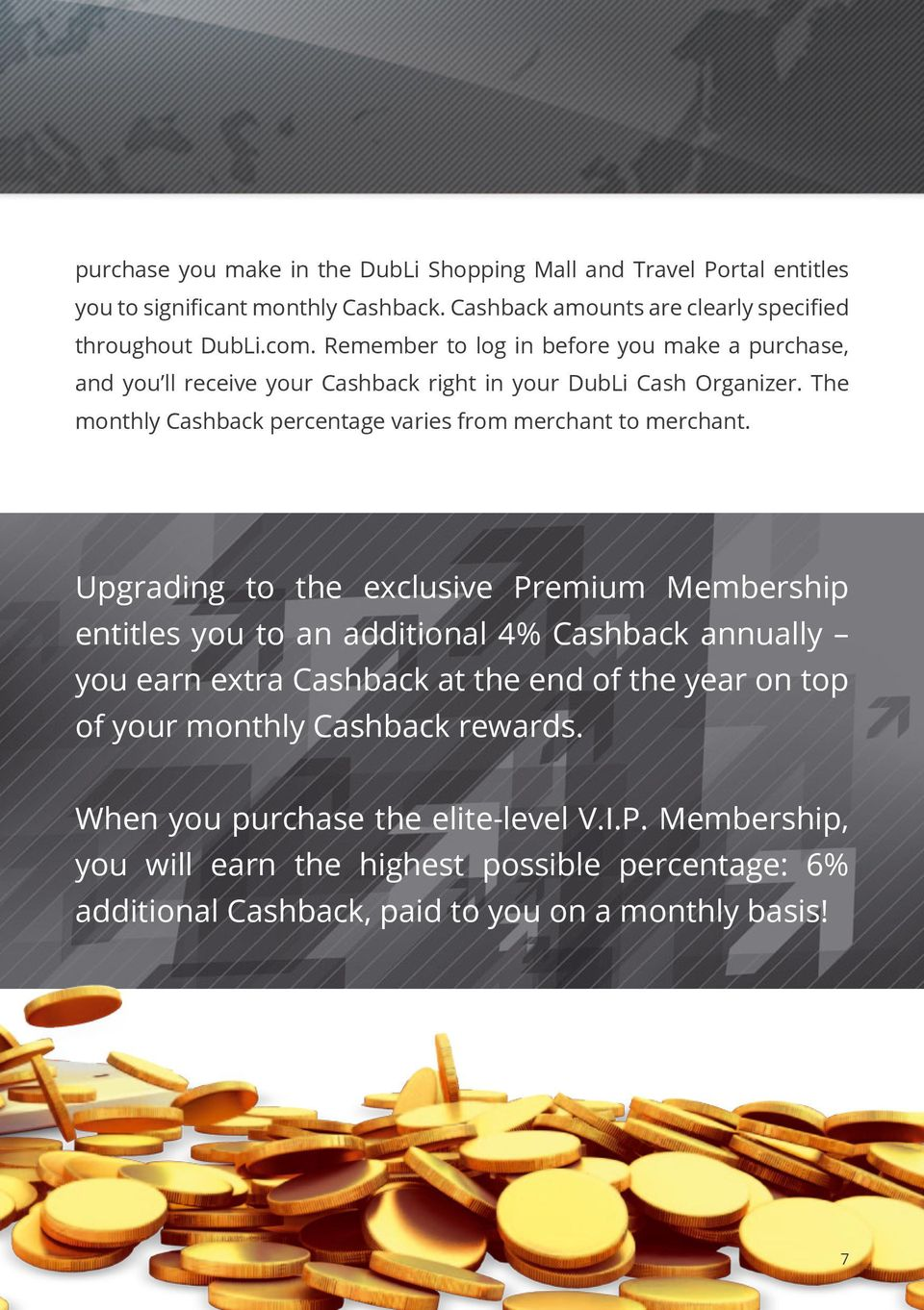 The monthly Cashback percentage varies from merchant to merchant.
