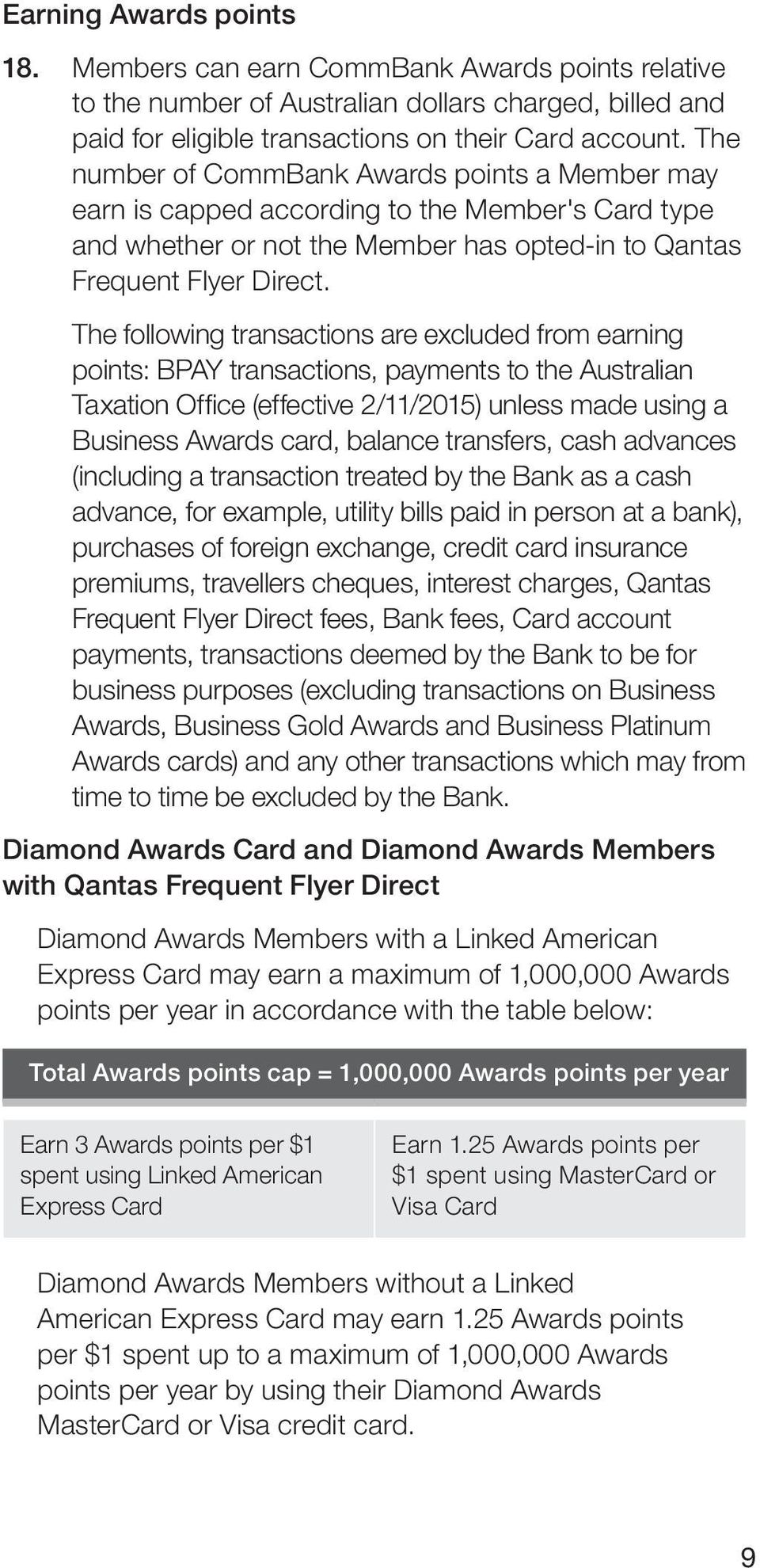 The following transactions are excluded from earning points: BPAY transactions, payments to the Australian Taxation Office (effective 2/11/2015) unless made using a Business Awards card, balance