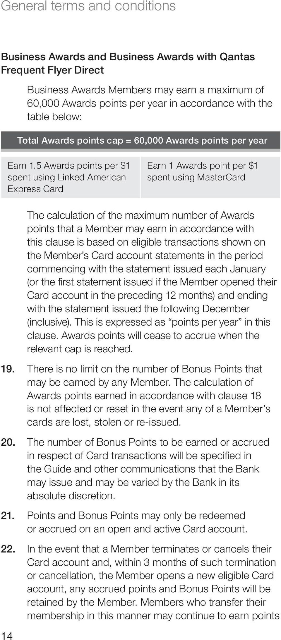 5 Awards points per $1 spent using Linked American Express Card Earn 1 Awards point per $1 spent using MasterCard 14 The calculation of the maximum number of Awards points that a Member may earn in