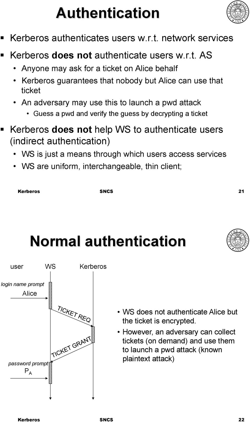 erberos does not help WS to authenticate users (indirect authentication) WS is just a means through which users access services WS are uniform, interchangeable, thin client; 21 Normal
