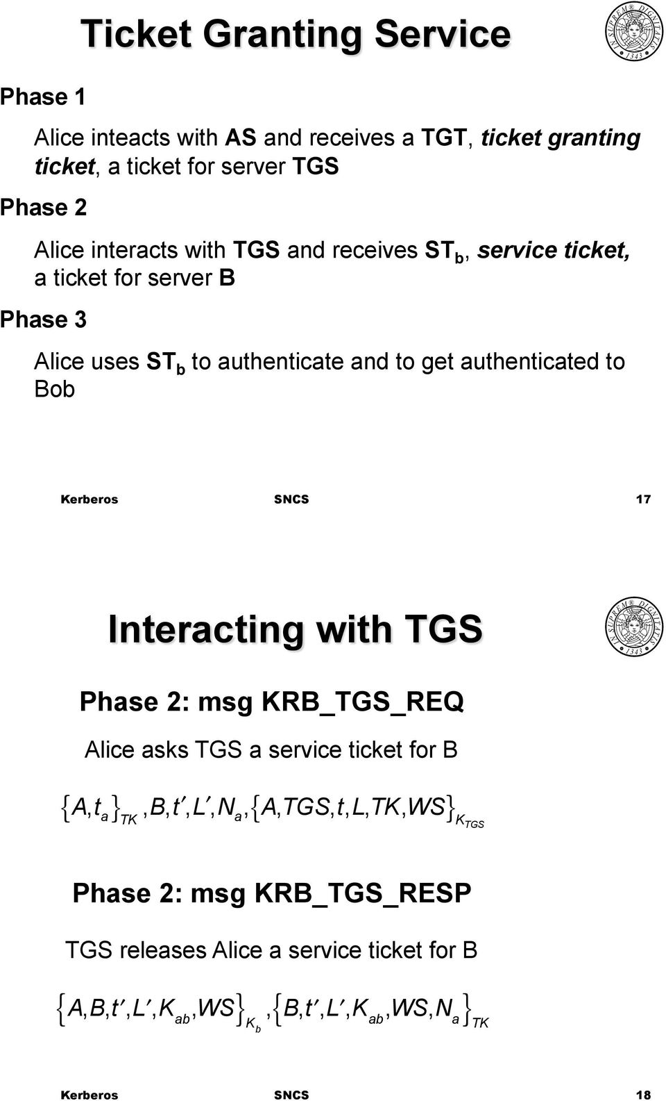 authenticated to Bob 17 Interacting with TGS Phase 2: msg RB_TGS_REQ Alice asks TGS a service ticket for B { A, t }, B, t, L, N,{ A,