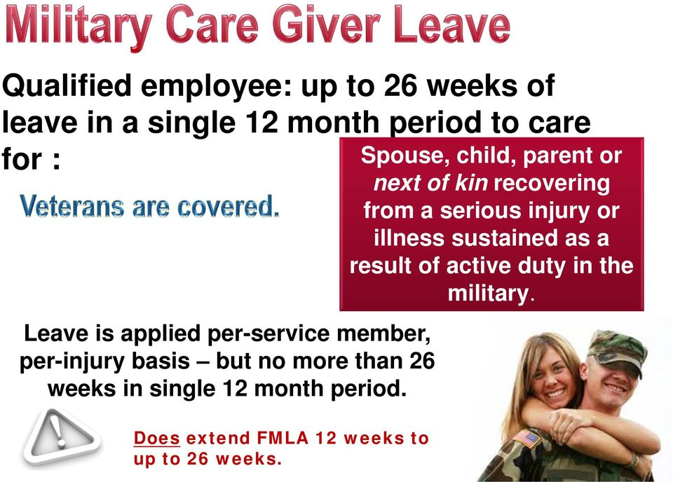 period. Does extend FMLA 12 weeks to up to 26 weeks.