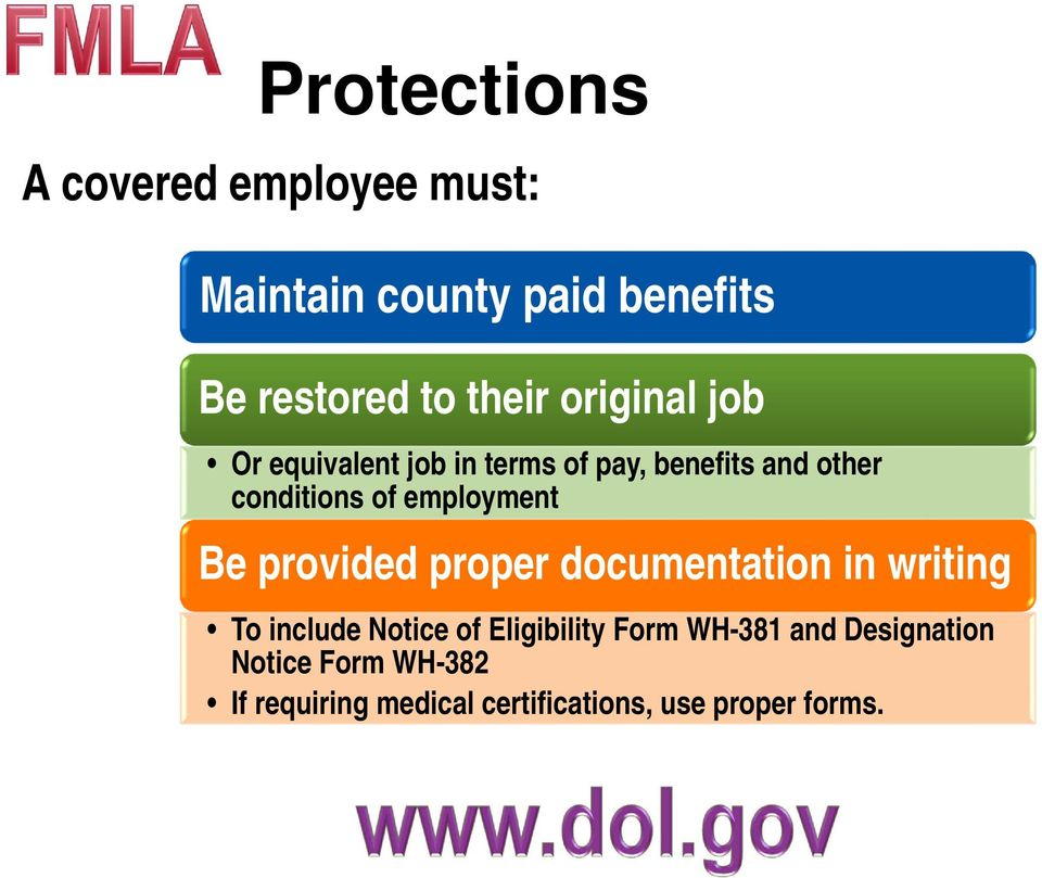 employment Be provided proper documentation in writing To include Notice of Eligibility