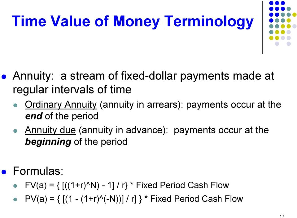 Annuity due (annuity in advance): payments occur at the beginning of the period Formulas: FV(a) = {