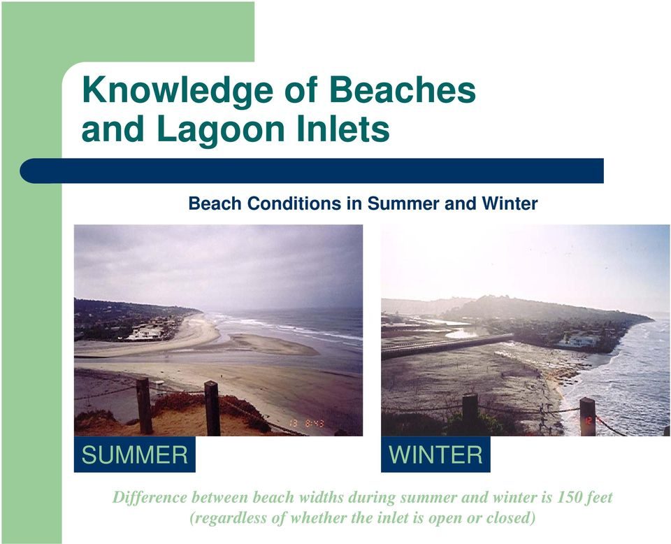 Difference between beach widths during summer and