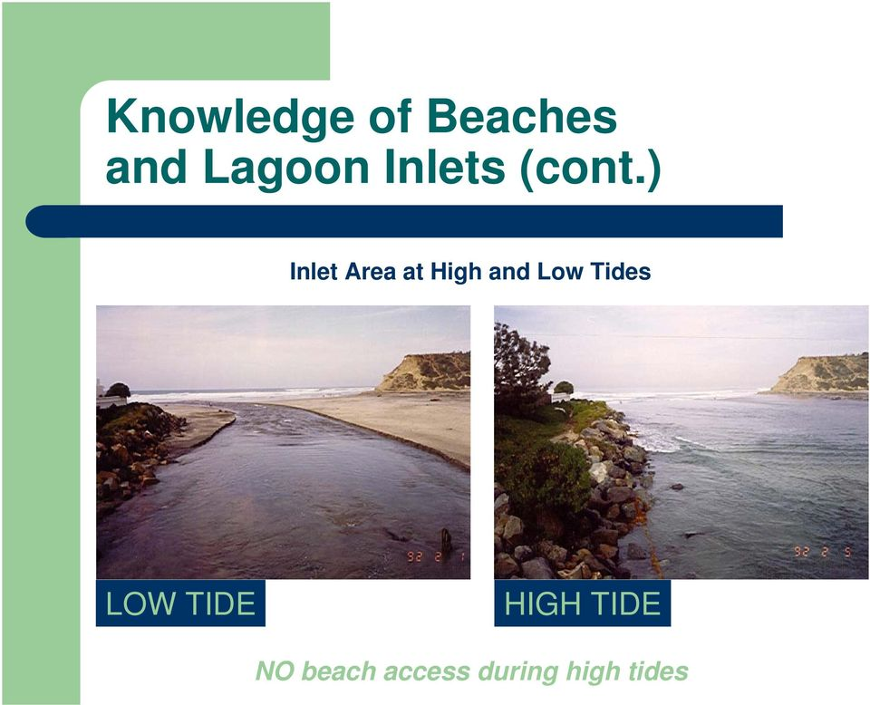 ) Inlet Area at High and Low