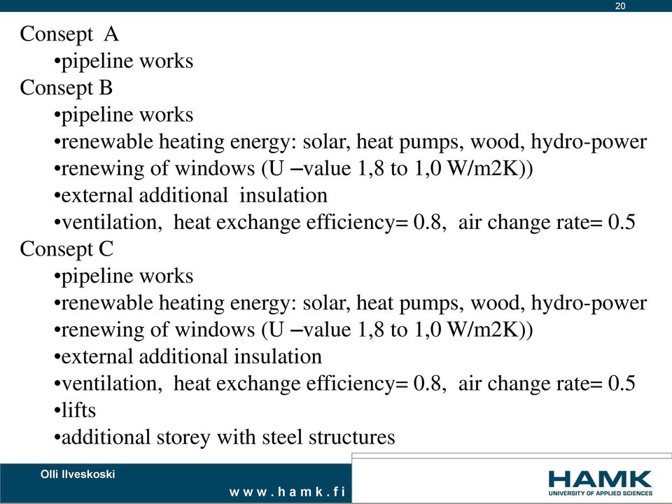 5 Consept C pipeline works renewable heating energy: solar, heat pumps, wood, hydro-power renewing of windows 5 lifts additional