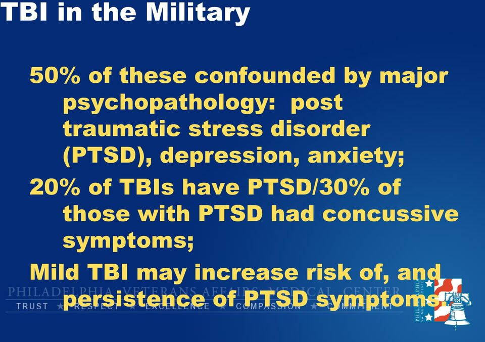 depression, anxiety; 20% of TBIs have PTSD/30% of those with PTSD