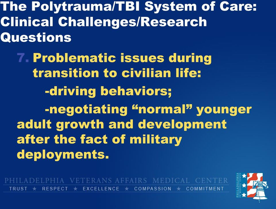 Problematic issues during transition to civilian life: