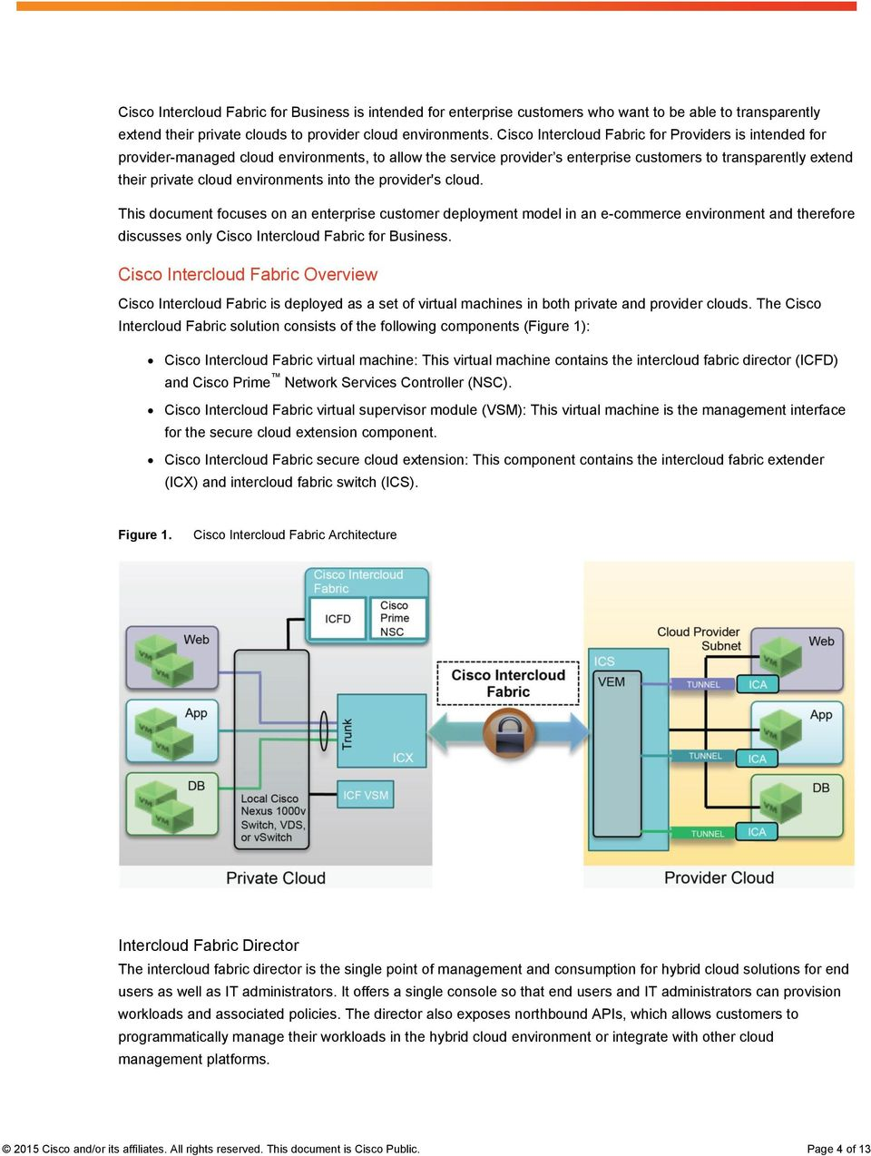 environments into the provider's cloud. This document focuses on an enterprise customer deployment model in an e-commerce environment and therefore discusses only Cisco Intercloud Fabric for Business.