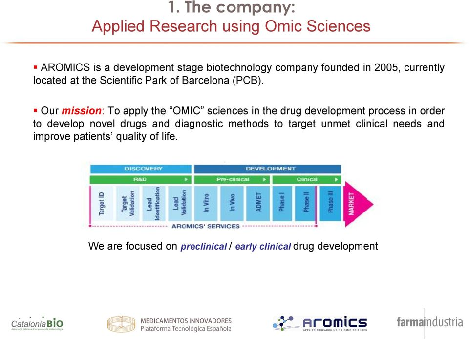 Our mission: To apply the OMIC sciences in the drug development process in order to develop novel drugs and