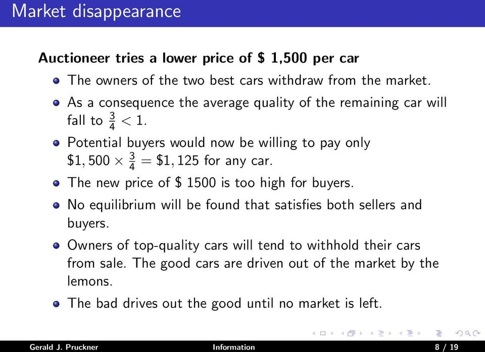 Potential buyers would now be willing to pay only $1, 500 3 4 = $1, 125 for any car. The new price of $ 1500 is too high for buyers.