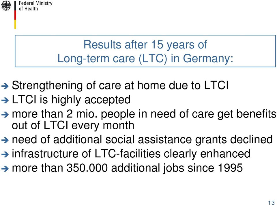 people in need of care get benefits out of LTCI every month need of additional social