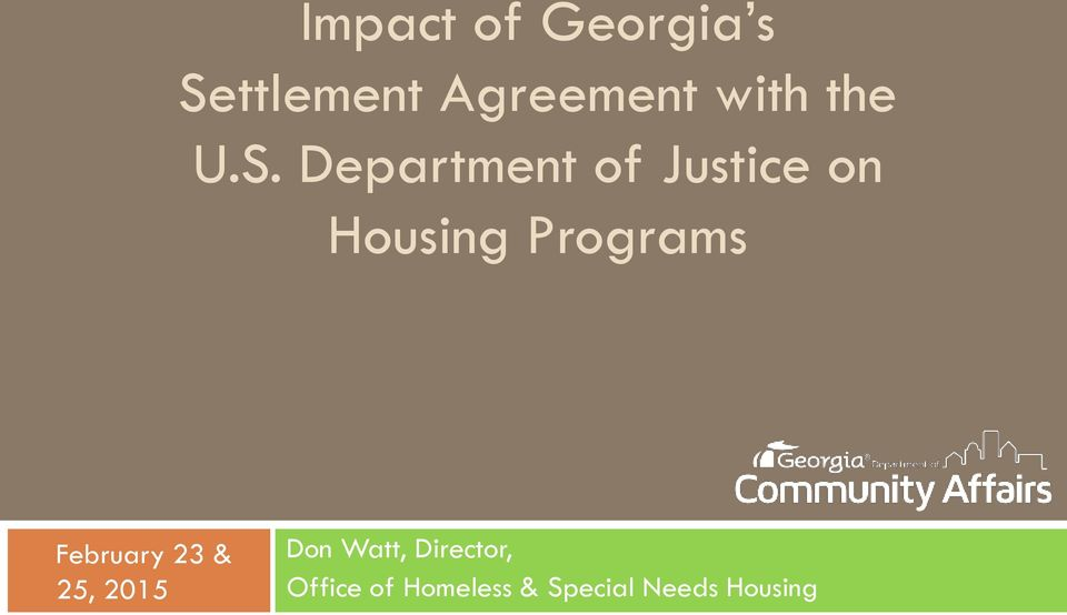 Department of Justice on Housing Programs