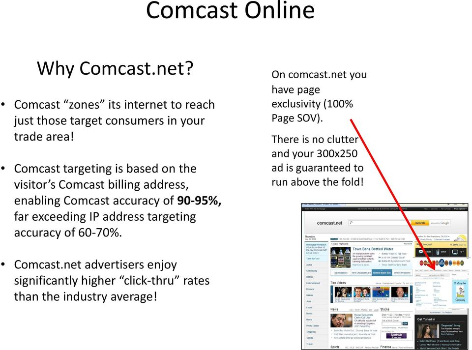 address targeting accuracy of 60-70%. On comcast.net you have page exclusivity (00% Page SOV).