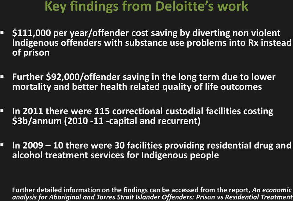 facilities costing $3b/annum (2010-11 -capital and recurrent) In 2009 10 there were 30 facilities providing residential drug and alcohol treatment services for Indigenous