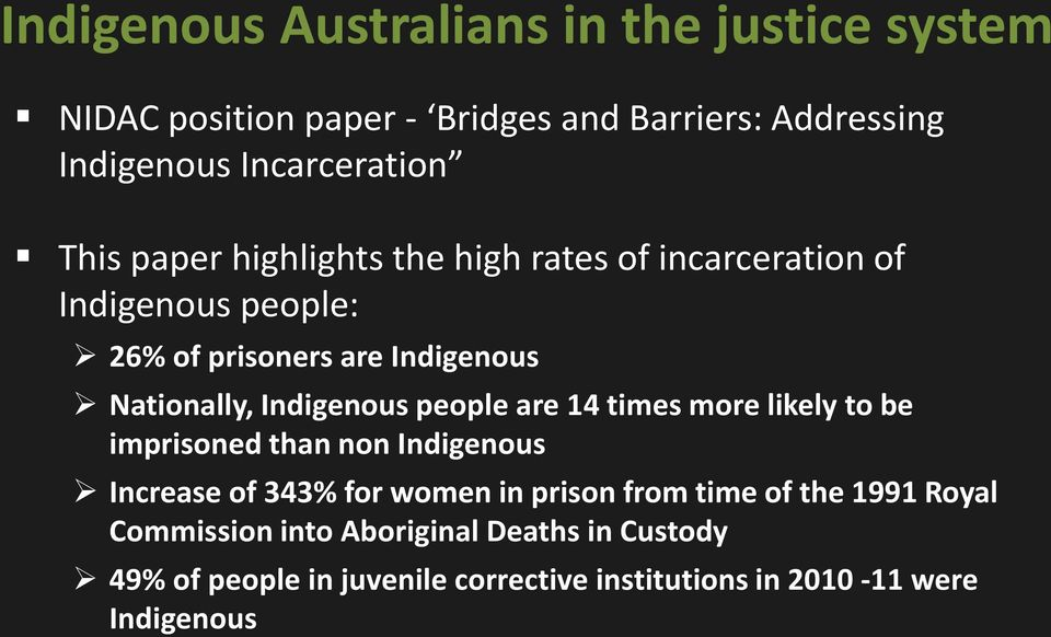 Indigenous people are 14 times more likely to be imprisoned than non Indigenous Increase of 343% for women in prison from time
