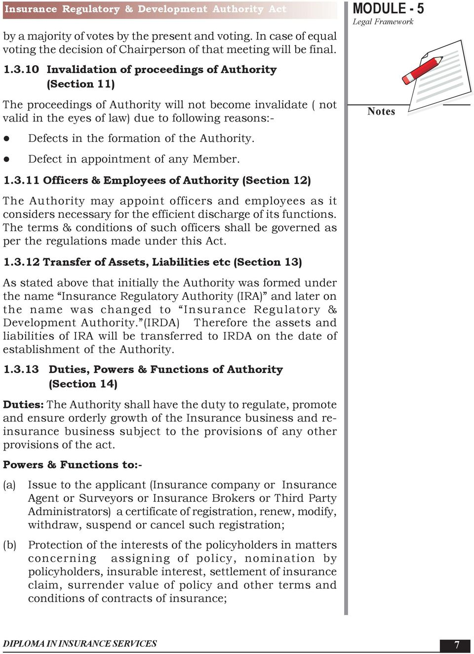 the Authority. Defect in appointment of any Member. MODULE - 5 1.3.