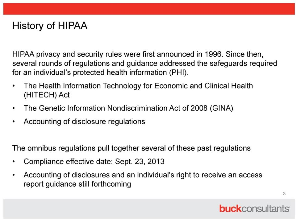 The Health Information Technology for Economic and Clinical Health (HITECH) Act The Genetic Information Nondiscrimination Act of 2008 (GINA) Accounting of