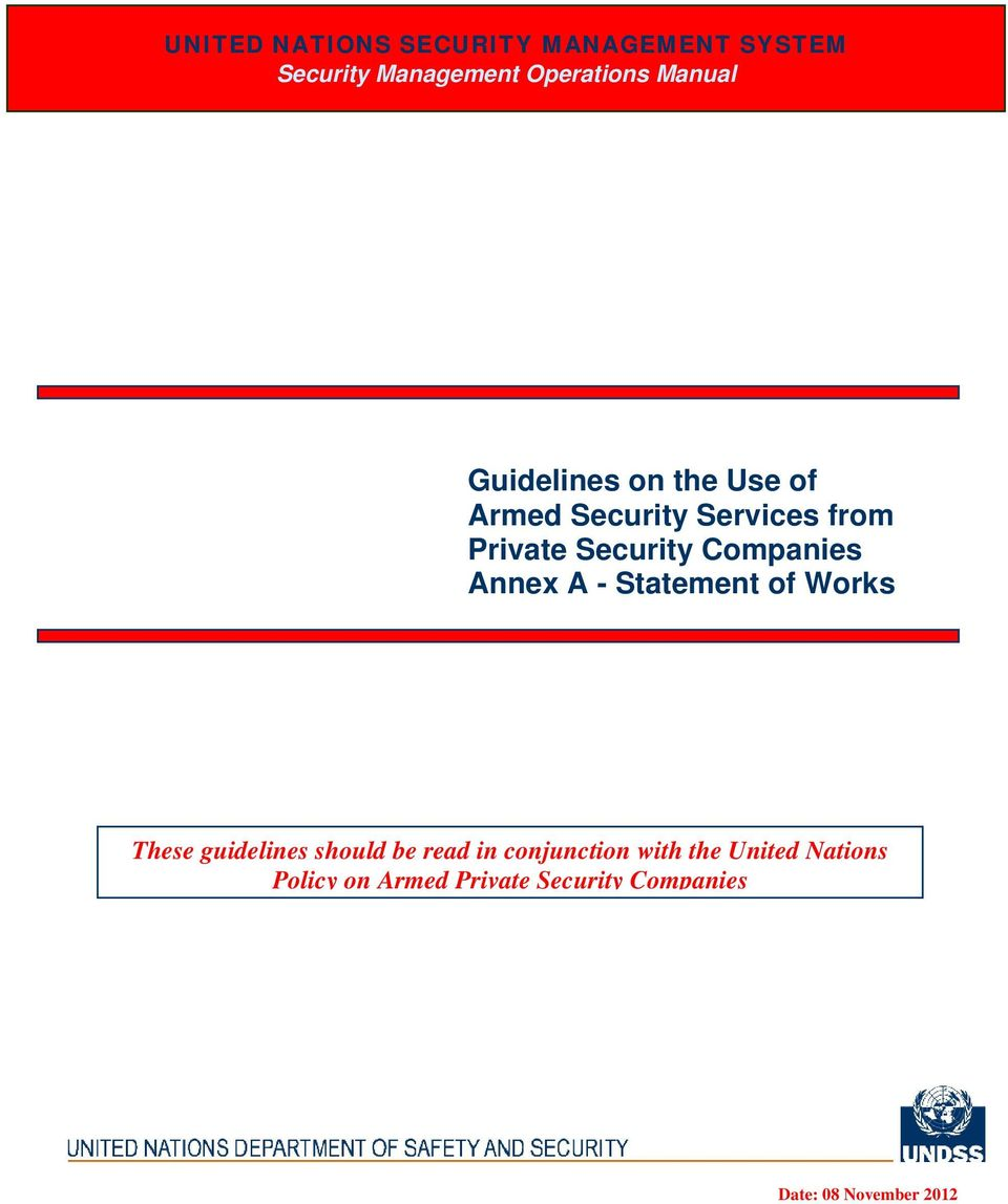 Annex A - Statement of Works These guidelines should be read in conjunction with
