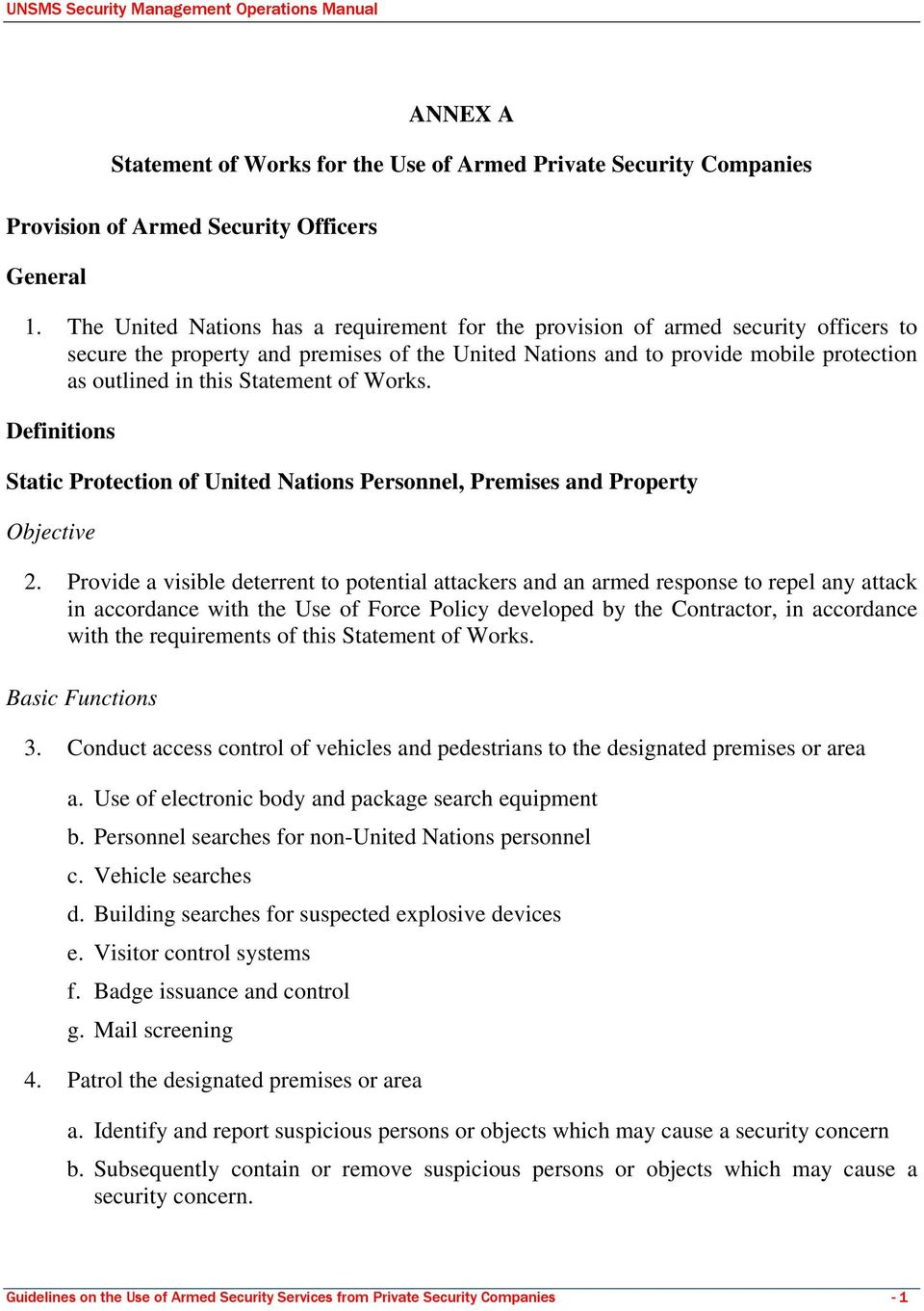 Statement of Works. Definitions Static Protection of United Nations Personnel, Premises and Property Objective 2.